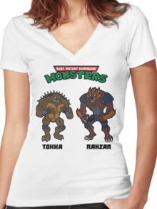 TMNT TOKKA AND RAHZAR Women's Fitted V-Neck T-Shirt