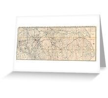 Map of Northern England, 1846 Greeting Card