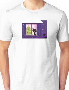 Cat looking through window, christmas tree Unisex T-Shirt