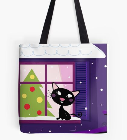 Cat looking through window, christmas tree Tote Bag