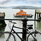 rescue lifeboat in cobh with bicycle by morrbyte
