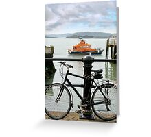 rescue lifeboat in cobh with bicycle Greeting Card