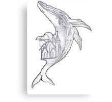 Pencil Humpback Whale  Canvas Print