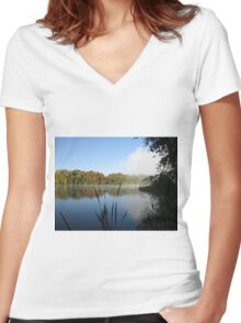 A Fine Autumn Morning By The River Women's Fitted V-Neck T-Shirt