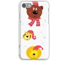 Cute animal icons with red Santa hats isolated on white iPhone Case/Skin