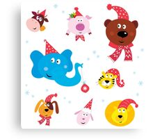 Cute animal icons with red Santa hats isolated on white Canvas Print