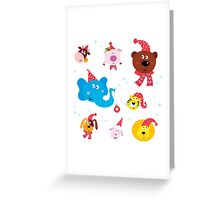 Cute animal icons with red Santa hats isolated on white Greeting Card