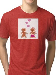 Vector Gingerbread People - Couple isolated on white Tri-blend T-Shirt