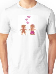 Vector Gingerbread People - Couple isolated on white Unisex T-Shirt