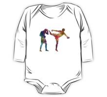 Two men exercising thai boxing silhouette 01 One Piece - Long Sleeve