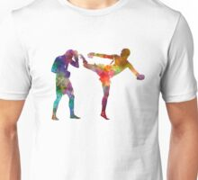 Two men exercising thai boxing silhouette 01 Unisex T-Shirt