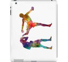 Two men exercising thai boxing silhouette 01 iPad Case/Skin