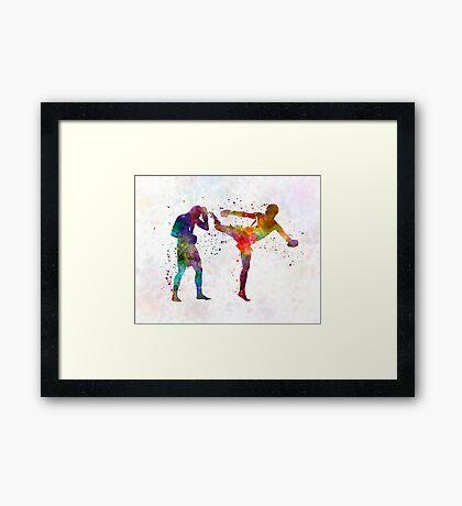Two men exercising thai boxing silhouette 01 Framed Print
