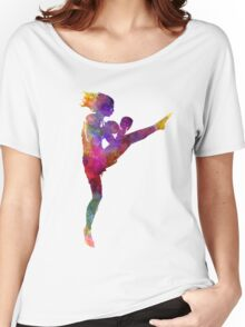 woman boxer boxing kickboxing silhouette isolated 01 Women's Relaxed Fit T-Shirt