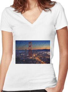 San Francisco collage Women's Fitted V-Neck T-Shirt