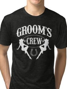 Old West Bachelor Party - Groom's Crew Version Tri-blend T-Shirt