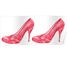 Red high heel women shoes. watercolor Poster