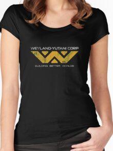 Weyland Yutani - Distressed Yellow Variant Women's Fitted Scoop T-Shirt
