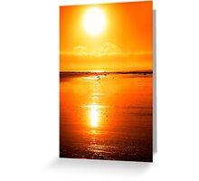 rod on a sunset beach Greeting Card