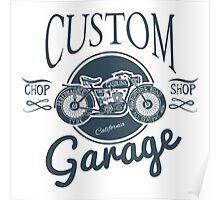 Custom Garage Vintage Morotcycle Illustration Poster