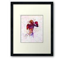 woman boxer boxing kickboxing silhouette isolated 02 Framed Print