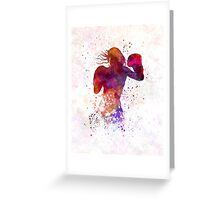 woman boxer boxing kickboxing silhouette isolated 02 Greeting Card