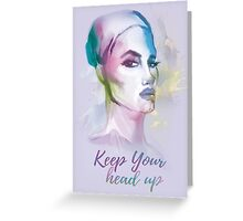 Keep your head up! Hand-painted portrait of a woman in watercolor. Greeting Card