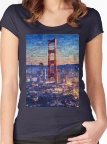 San Francisco Sky Line and the Golden Gate Bridge Women's Fitted Scoop T-Shirt