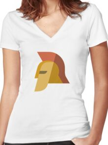 Spartan Helmet Icon Women's Fitted V-Neck T-Shirt