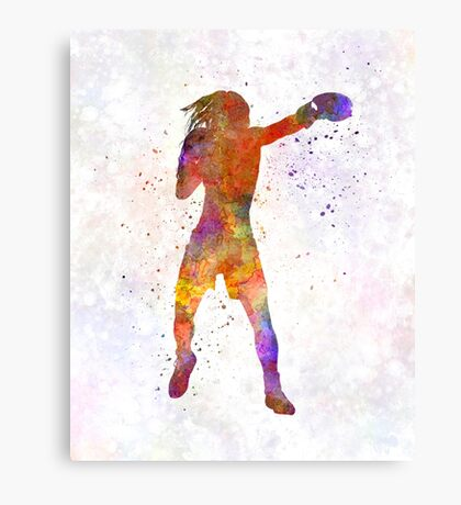 Woman boxer boxing kickboxing silhouette isolated 03 Canvas Print