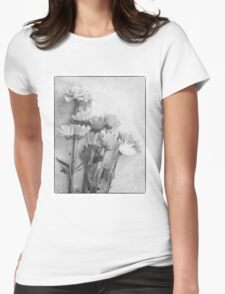 Floral Study in B&W Womens Fitted T-Shirt