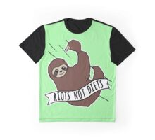 "Feminist Sloth ""Riots Not Diets"" Anti-Diet Sloth Graphic T-Shirt"