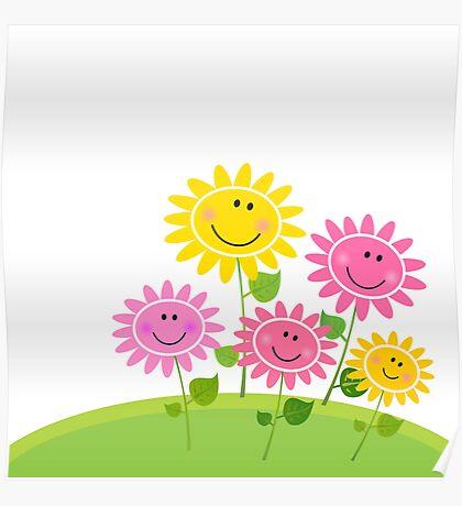 Happy Spring Flower Garden. Vector Illustration. Poster