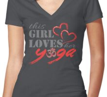 This Girl Loves her YOGA Women's Fitted V-Neck T-Shirt