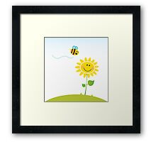 Spring & nature: Happy yellow flower with bee Framed Print