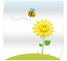 Spring & nature: Happy yellow flower with bee Poster