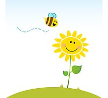 Spring & nature: Happy yellow flower with bee Photographic Print