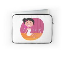 Health and spa: Happy smiling woman relaxing in infrared sauna Laptop Sleeve