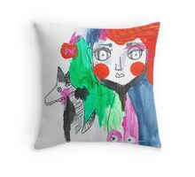 Milly and her Dog Throw Pillow