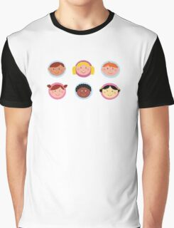 Cute diversity kids icons or buttons Graphic T-Shirt