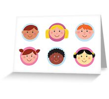 Cute diversity kids icons or buttons Greeting Card