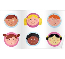 Cute diversity kids icons or buttons Poster