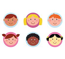 Cute diversity kids icons or buttons Photographic Print