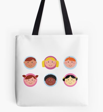 Cute diversity kids icons or buttons Tote Bag