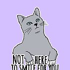 Not Here to Smile For You - Feminist Cat by riotcakes