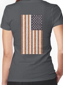 American, Flag, Stars & Stripes, Portrait, CRUSTY, RUSTY,  Women's Fitted V-Neck T-Shirt
