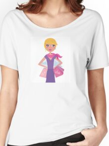 Happy blond woman on shopping in the city Women's Relaxed Fit T-Shirt