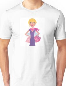 Happy blond woman on shopping in the city Unisex T-Shirt