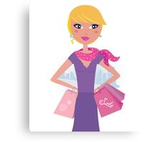 Happy blond woman on shopping in the city Canvas Print