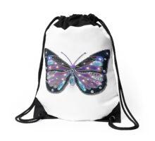 Colorful Black Blue Butterflies Drawstring Bag
